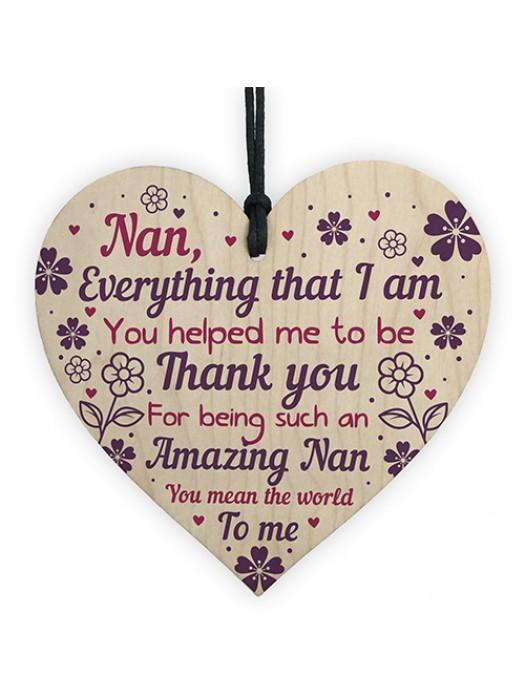 Thank You Nan Gift Mothers Day Gift Wood Heart Nan Birthday Gift