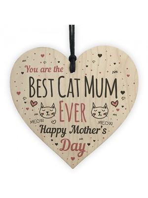 Funny Mothers Day Gift Cards Wooden Heart Best Cat Mum Gifts