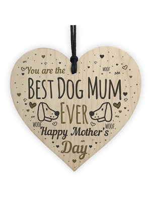 Funny Mother's Day Gift Card Wooden Heart Best Dog Mum Gifts