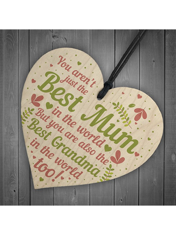 Cute Mother's Day Gift Card Wooden Heart Mum Gifts Best Grandma