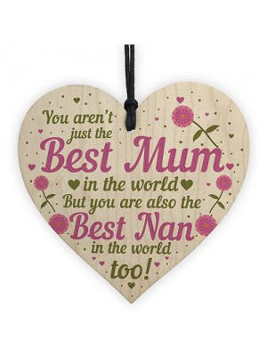 Cute Mother's Day Gift Card Wooden Heart Mum Gifts Nan Gifts