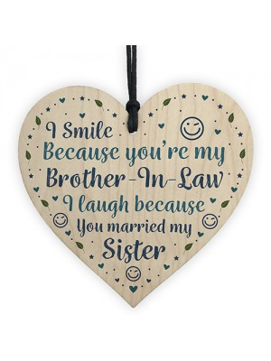 Funny Brother In Law Birthday Gift Wood Heart Humour Brother