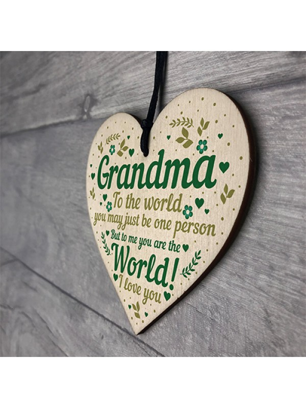 Mothers Day Gift Card Grandma LOVE Sign Wood Heart Grandparent