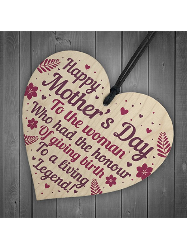Funny Humour Mothers Day Gift Card Wood Heart Mum Daughter Gift