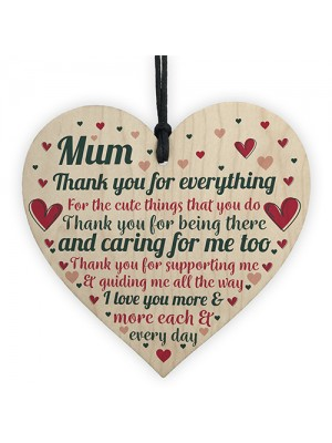 Cute Mothers Day Gift Wooden Heart Thank You Gift For Mum