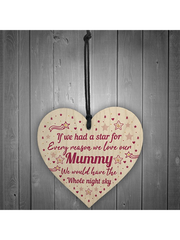 Mummy Gifts Wooden Heart Plaque Mothers Day Gift Mummy Gift