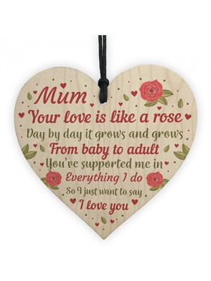 Mum Gifts Wood Heart Mum Birthday Gifts Love Plaques Mothers Day