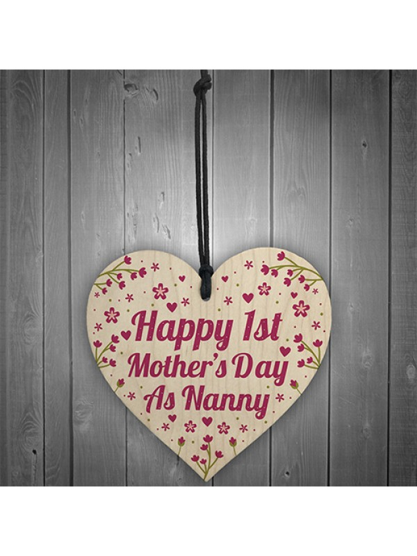 First Mothers Day Gift 1st Mothers Day Cards  Heart Nanny Gifts