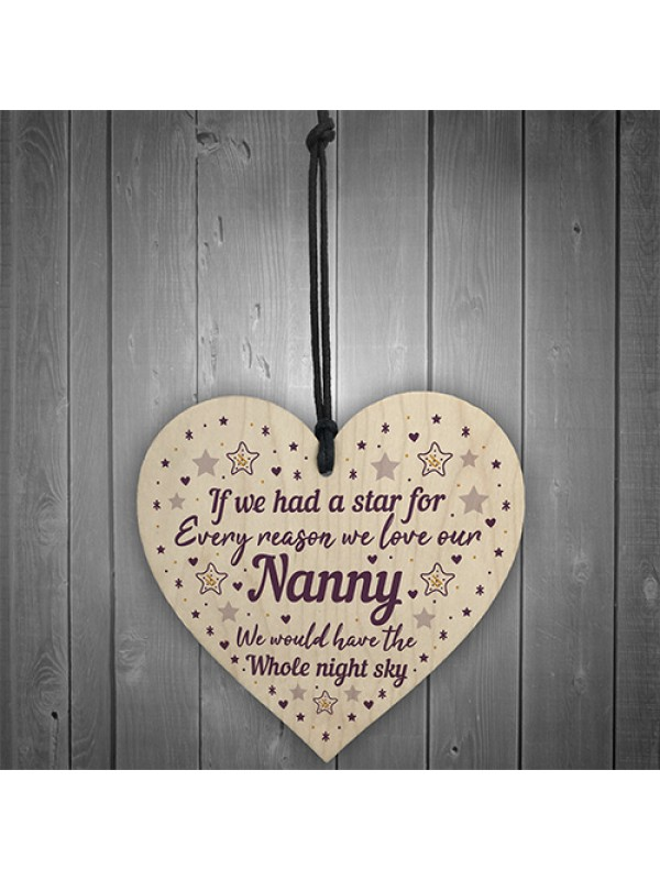 Cute Nanny Heart Wood Sign Mothers Day Gift Birthday Gifts