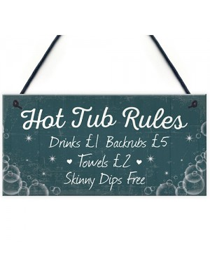 Funny Hot Tub Rules Novelty Hanging Garden Shed Plaque Jacuzzi