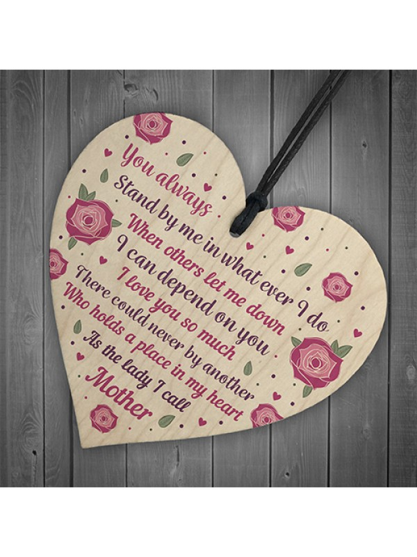 Thank You Mother's Day Gift Wood Heart Friendship Gift Mother