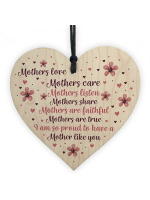 Mother's Day Gift Mother's Day Card Wooden Heart Gift For Mum