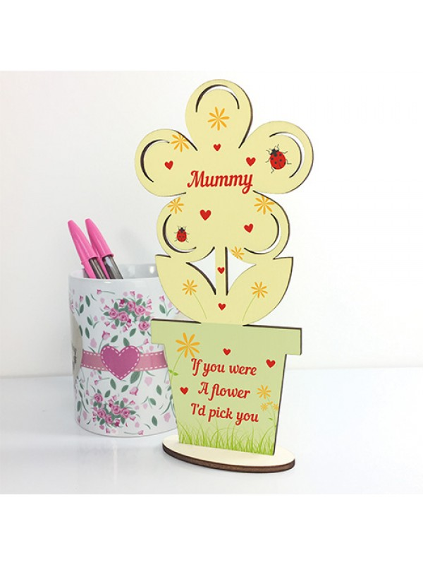 Cute Mothers Day Gift Mummy Plaque Wooden Flower Gift For Mummy