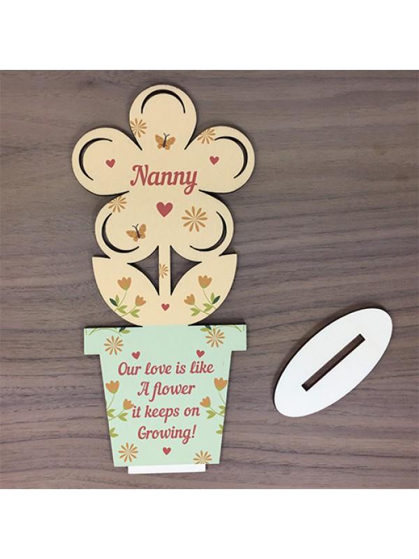 Nanny Gift Wooden Flower For Birthday Her
