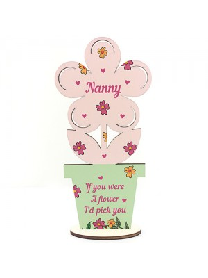 Mum Mothers Day Gift For Nanny Wooden Flower Nanny Gifts