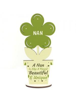 Nan Wooden Flower Mothers Day Gift Nan Birthday Gift LOVE