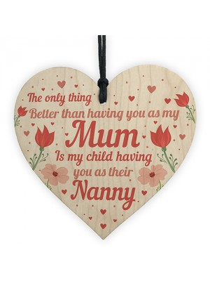 Mum Nanny Gifts Wooden Heart Mothers Day Gift Card New Baby Gift