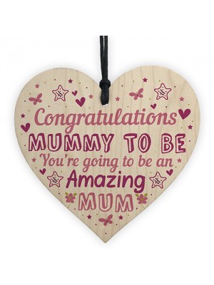 Mummy To Be Sign Baby Shower Mum Gift Wood Heart New Baby