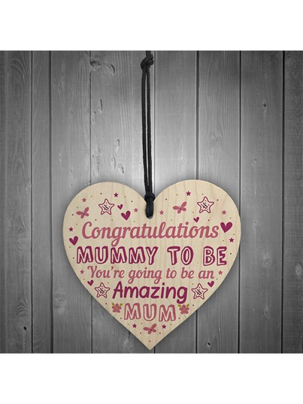 Mummy To Be Sign Baby Shower Mum Gift Wood Heart New Baby