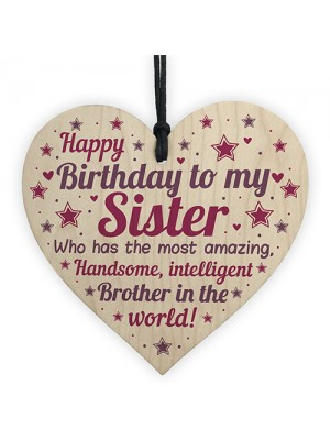Funny Sister Birthday Gifts Sister Birthday Card Wooden Heart