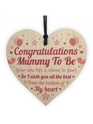 Mummy To Be Gift Wood Heart Congratulations Gift Baby Shower