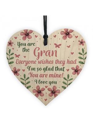 Birthday Mothers Day Gift For Nan Nanny Nan Granny Wood Heart