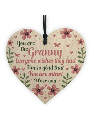 Wooden Heart Sign Birthday Mothers Day Gift For Granny Nan Gran
