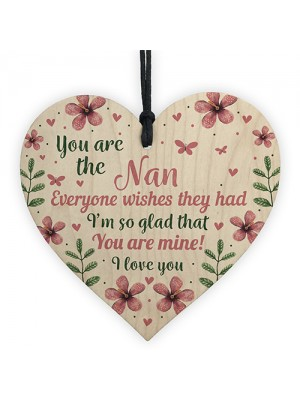 Nan Nanny Gift Wooden Sign Heart Gift For Birthday Mothers Day