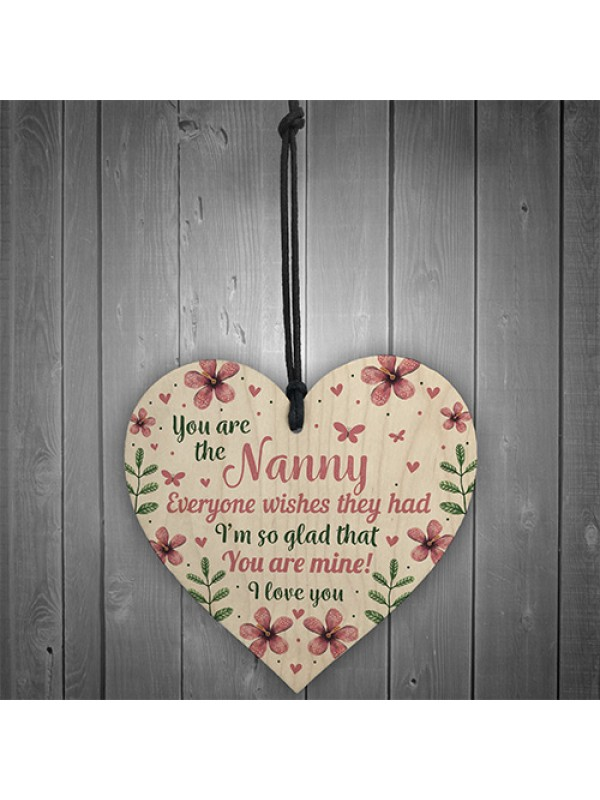Nanny Birthday Gifts Mothers Day Wooden Heart Plaque For Nan