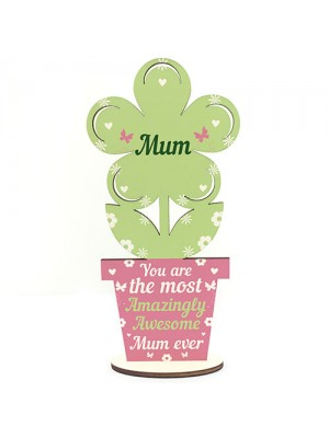 Amazing Mum Gift Wooden Flower Mum Birthday Christmas Gift