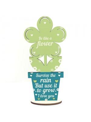 Stronger Inspirational Friendship Gift Wood Flower Birthday Gift