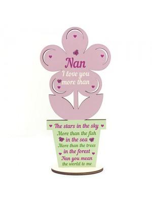 Nan Birthday Christmas Gifts Wood Flower Nan Gifts LOVE Keepsake