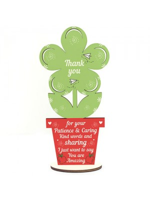 Gift for Teacher And Assistant Wooden Flower Thank You Leaving