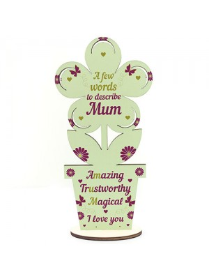 Cute Mothers Day Gift Wood Flower Mum Birthday Gift From Son