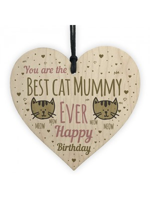 Best Cat Mummy Funny Mum Birthday Gifts Wood Heart Humour Cat