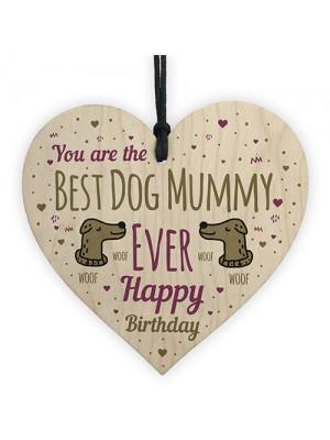Best Dog Mummy Funny Mum Birthday Gifts Wood Heart Dog Gifts