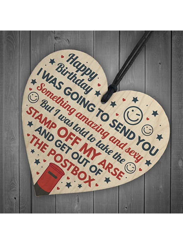 Funny Rude Birthday Gifts For Friend Boyfriend Wooden Heart