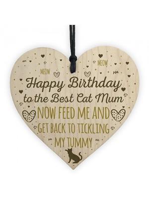 Funny Humourous Cat Gift Wood Heart Funny Mum Gift Mum Birthday