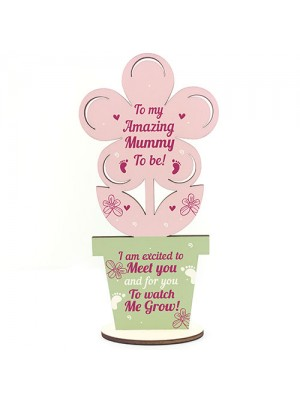 New Mummy Baby Shower Gift Wood Flower Pregnant Mummy To Be