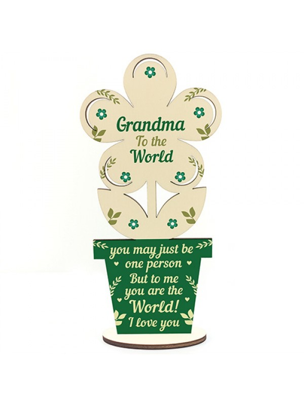 Grandma Birthday Gift From Grandchildren Wood Flower Mothers Day