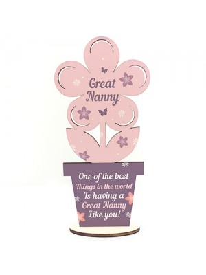 Great Nanny Gifts Wooden Flower Great Nanny Birthday Gifts