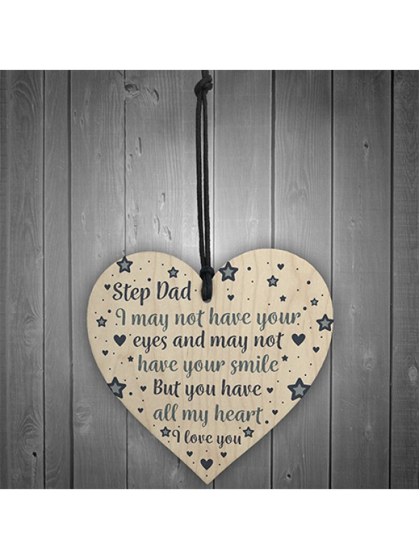 Step Dad Gifts Fathers Day Gifts Wooden Heart Sign Birthday Gift
