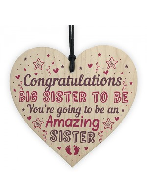 Big Sister To Be Gifts Congratulations Wooden Heart Mummy To Be