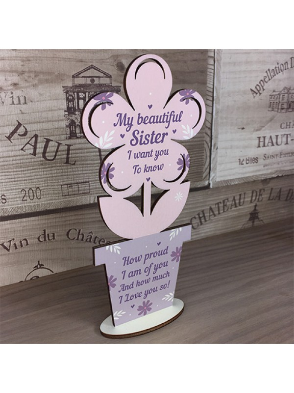 Sister Birthday Christmas Gifts Wooden Flower Best Friend Gift