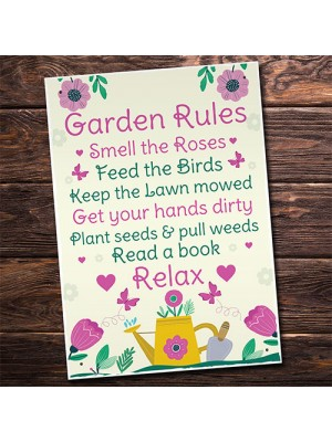 GARDEN RULES Sign Summer House Sign Garden Shed Plaques