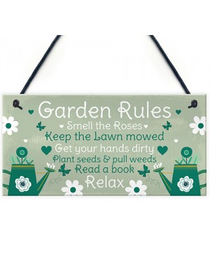 Garden Rules Novelty Hanging Plaque Summer House Sign Shed Sign