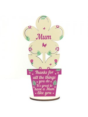 Mum Gift Mum Birthday Gifts Wooden Flower From Daughter Son