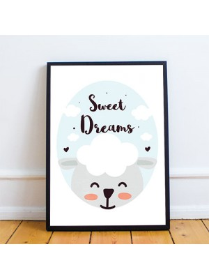Cute Framed Nursery Animal Print Sweet Dreams Nursery Quote