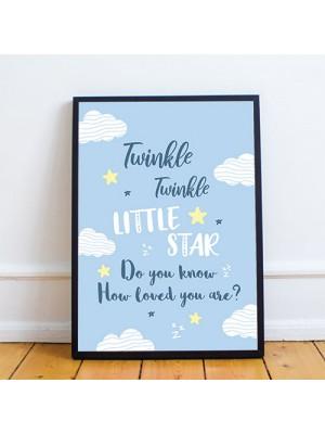 Blue Framed Nursery Prints / Nursery Wall Art For Baby Boy