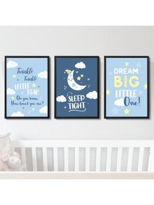 Blue Nursery Prints Set of 3 Baby Boys Girls Bedroom Wall Art